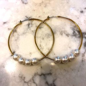 J. CREW Faux Pearl & Gold Hoops